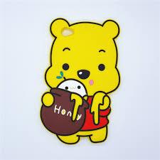 3d cute cartoon eating honey winnie pooh case soft silicone