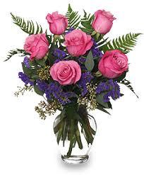Vase With Roses Half Dozen Pink Roses Vase Arrangement Roses Flower Shop Network