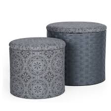 adecotrading 2 piece round storage ottoman set u0026 reviews wayfair