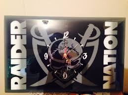 Wood Clock Designs by Buy A Handmade Custom Oakland Raiders Wood Clock Made To Order