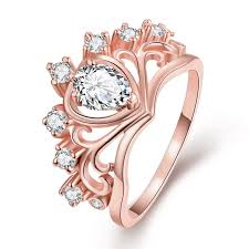engagement rings stones images Charms crown wedding ring women 39 s rose gold engagement rings with jpg
