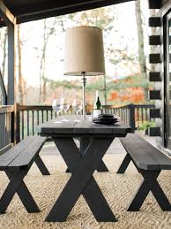 Picnic Benches For Schools How To Makeover A Plain Picnic Table And Add Lighting How Tos Diy