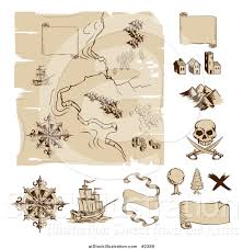 Old Treasure Map Vector Illustration Of A Worn Old Treasure Map And Design Elements