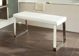 sitzbank für badezimmer 3g gepolsterte sitzbank weiß bank verchromt kunstleder bad