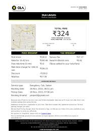 Parking Receipt Template Olacabs Invoice