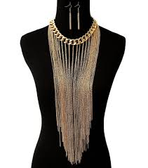 long chain choker necklace images Sexy long multi chain gold fringe tassel curb chain choker jpg
