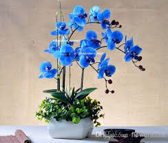 blue orchid flower 2017 christmas 95cm pu real touch artificial flower phalaenopsis