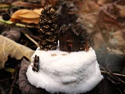 fairy house log cabin winter scene in a teapot tiny diorama