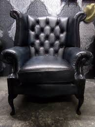 Blue Leather Armchair Beautiful Chesterfield Queen Anne Wing Back Chair In Blue Leather