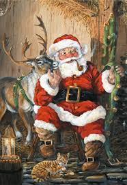 cute santa with reindeer boxed christmas cards made in usa