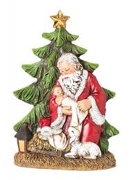 santa and baby jesus picture santa holding baby jesus w christmas tree 4 per order