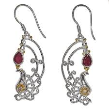 peacock earrings sterling silver ruby two tone peacock earrings offerings jewelry