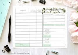 12 Month Budget Spreadsheet printable monthly budget worksheets set of 12 floral worksheets