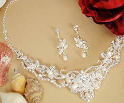 pearl crystal wedding necklace images Silver freshwater pearl crystal jewelry set ne 7825 jpg