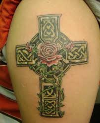 celtic cross tattoo with rose flower
