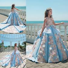 2018 blue lace girls pageant dresses ball gown children birthday