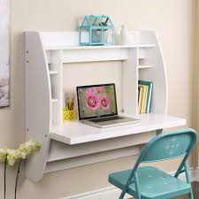Wall Mount Computer Desk White Wooden Floating Wall Mounted Computer Desk With Side And Top