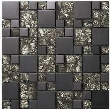 carrelage cuisine mosaique verre cristal noir miroir mosaïques métalliques en acier inoxydable