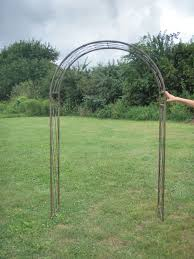 wrought iron round criss cross arch metal garden trellis
