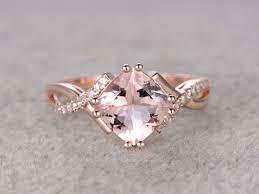 morganite gold engagement ring 2 4 carat cushion cut morganite engagement ring diamond promise