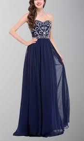 dark navy blue dazzling embroidery long formal dresses ksp285