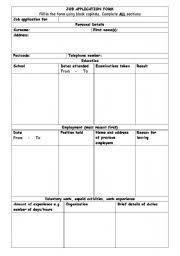worksheet job application form