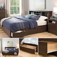 Brown Wood Bed Frame King Platform Beds Frames Ebay