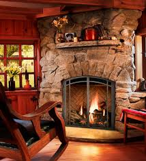 fireplace design feature stacked stone fireplace with rustic style