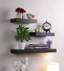 wall shelves pepperfry buy floating wall shelf set of 3 in black finish by decornation