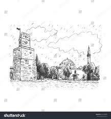 view clock tower antalya turkey vector stock vector 341460008