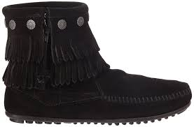 womens boots size 12 uk minnetonka fringe side zip boot womens boots black schwarz