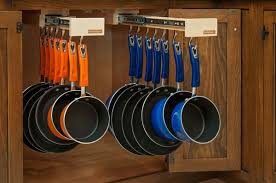 8 smart stylish kitchen storage systems homes and hues 3 glideware pots and pans hanging system