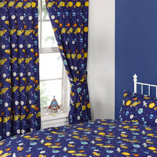 childrens curtains one pair of spaceman rockets planets blue print