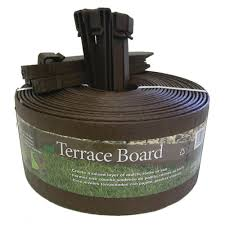 terrace board 4 in x 20 ft brown plastic landscape edging with
