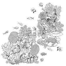 hand drawn underwater natural elements sketch of reef corals