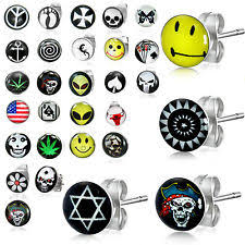 boy earrings boys skull earrings ebay