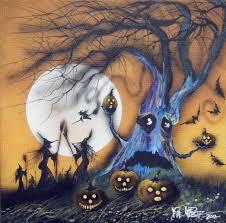 spirit halloween tuscaloosa original painting halloween folk art witch cat haunted landscape