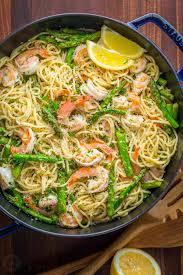 shrimp scampi pasta with asparagus video natashaskitchen com
