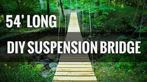 diy suspension bridge 54 u0027 span youtube