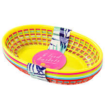 food baskets cuban plastic food baskets pk6 23cm by talking tables