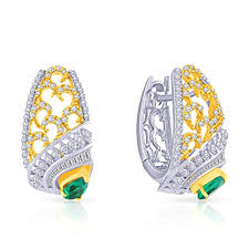malabar diamond earrings malabar gold and diamonds mine collection 18k 750 two colour