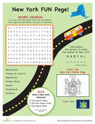 new york fun facts worksheets brain teasers and word search
