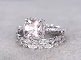 3pc 7mm morganite engagement ring set white gold diamond wedding