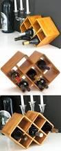 double cube 8 bottle bamboo countertop wine rack get weird gifts