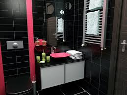 sweet pink accents at black bathroom ideas for modern bathroom