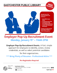 Free Resumes For Employers Ceis Eastchester Library Employer Pop Up Recruitment Event The