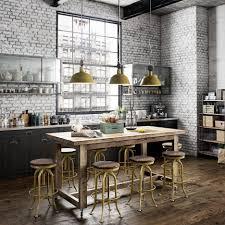 vintage kitchen island vintage kitchen design with grey brick kitchen wall black kitchen