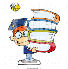books for high school graduates vector clip of a happy bee a happy haired
