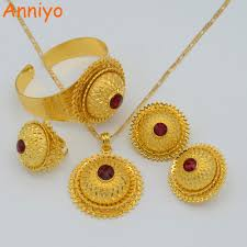 gold earrings for women anniyo jewelry set gold color pendant necklaces earrings