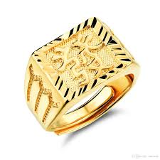 mens gold rings personality mens gold plated rectangle ring blessing in